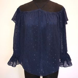 1.State New Navy Longsleeve off shoulder S blouse